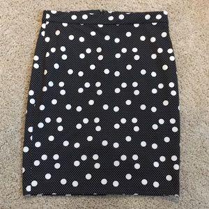 Black and white dot pencil skirt